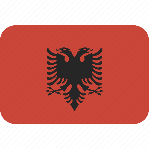 albania, rectangle, round icon