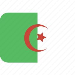 algeria, rectangle, round icon