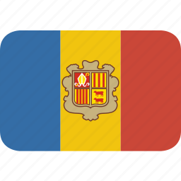 andorra, rectangle, round icon