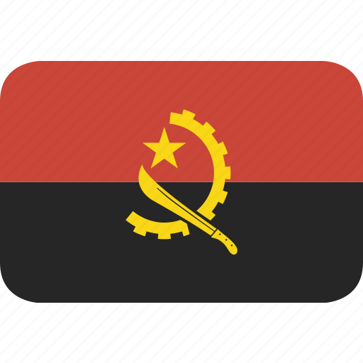 angola, rectangle, round icon