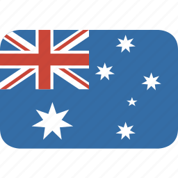 australia, rectangle, round icon