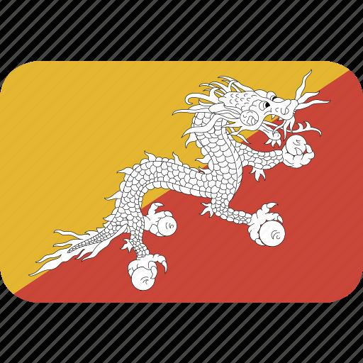 bhutan, rectangle, round icon