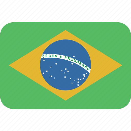 brazil, rectangle, round icon