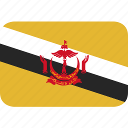 brunei, rectangle, round icon
