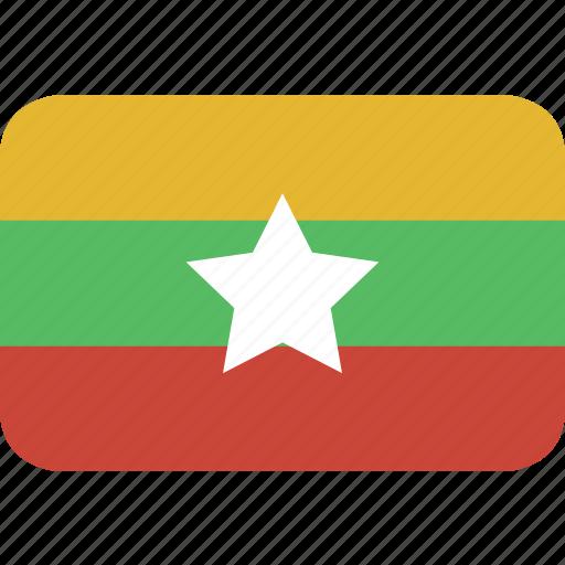 burma, myanmar, rectangle, round icon