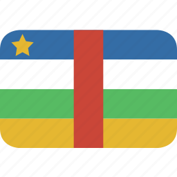 african, central, rectangle, round icon