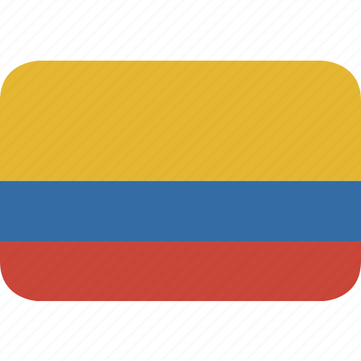 colombia, rectangle, round icon