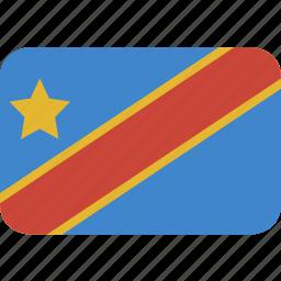 congo, democratic, rectangle, republic, round icon