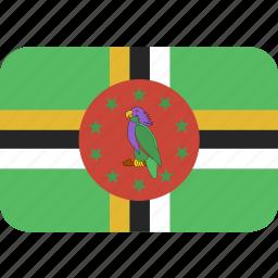 dominica, rectangle, round icon