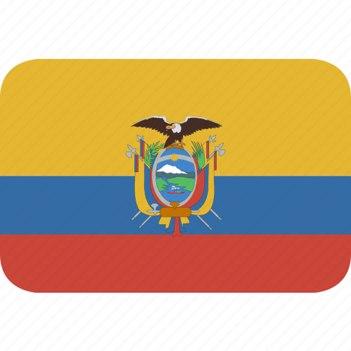 ecuador, rectangle, round icon