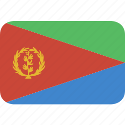 eritrea, rectangle, round icon