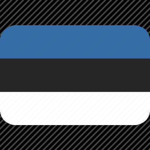 estonia, rectangle, round icon