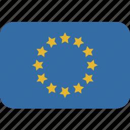 europe, rectangle, round icon