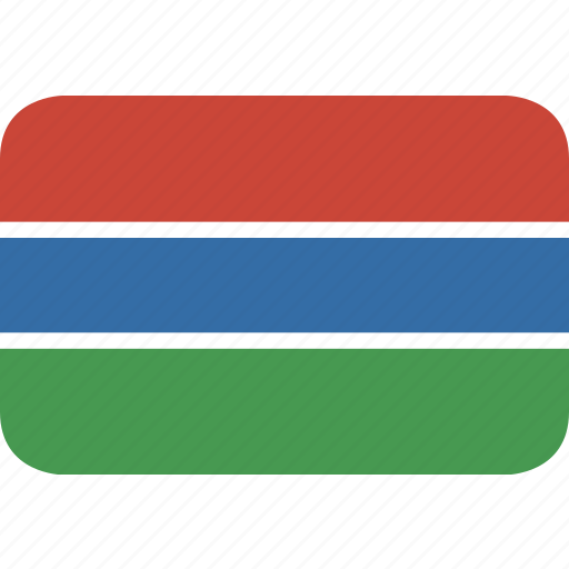 gambia, rectangle, round icon