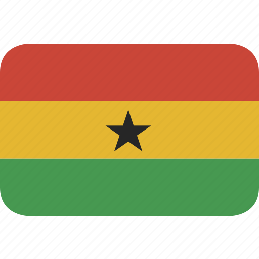 ghana, rectangle, round icon