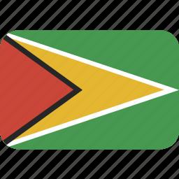 guyana, rectangle, round icon