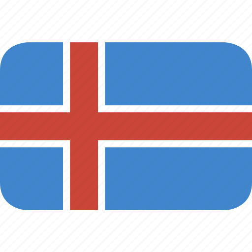 iceland, rectangle, round icon