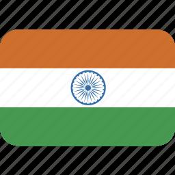 india, rectangle, round icon
