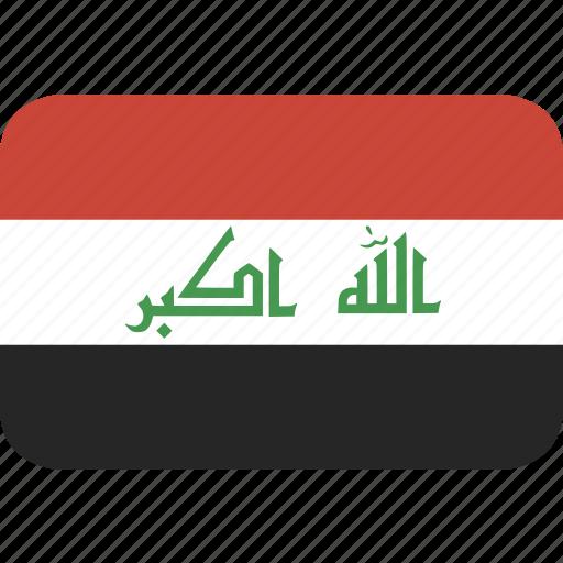 iraq, rectangle, round icon