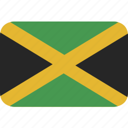 jamaica, rectangle, round icon
