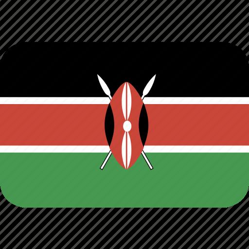 kenya, rectangle, round icon