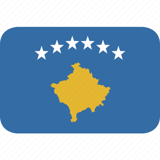 kosovo, rectangle, round icon