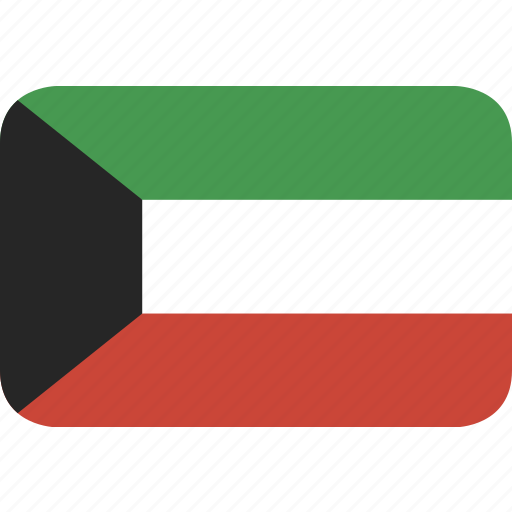 kuwait, rectangle, round icon