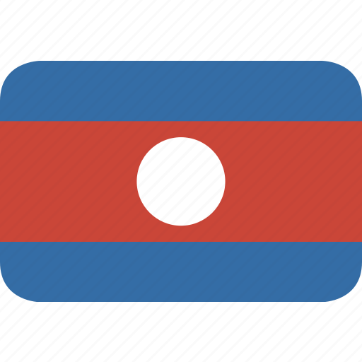 laos, rectangle, round icon