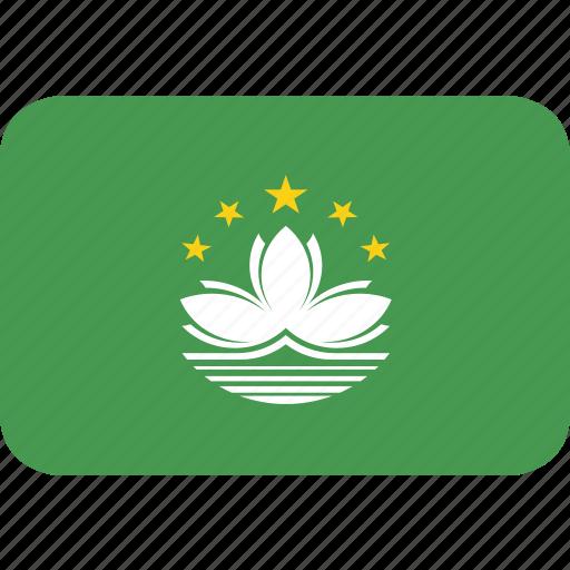 macau, rectangle, round icon