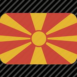 macedonia, rectangle, round icon