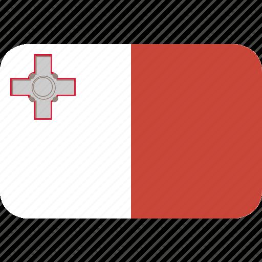 malta, rectangle, round icon