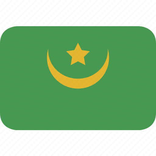 mauritania, rectangle, round icon