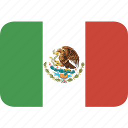 mexico, rectangle, round icon