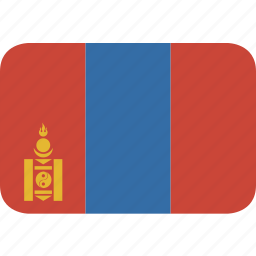 mongolia, rectangle, round icon