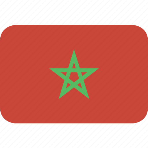 morocco, rectangle, round icon