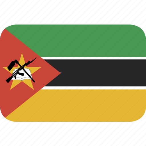 mozambique, rectangle, round icon