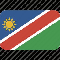 namibia, rectangle, round icon