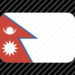 nepal, rectangle, round icon