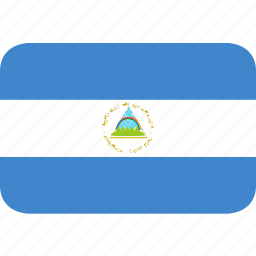 nicaragua, rectangle, round icon