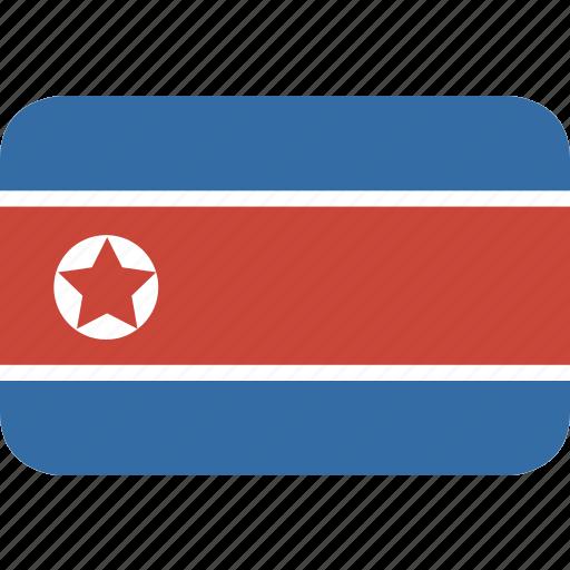 korea, north, rectangle, round icon