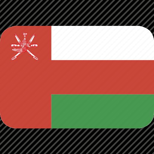 oman, rectangle, round icon