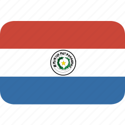 paraguay, rectangle, round icon