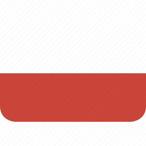 poland, rectangle, round icon