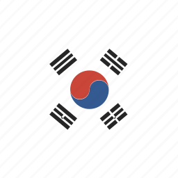 korea, rectangle, round, south icon