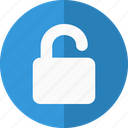 access, authorization, authorized, blue, lock, logged in, login, open, open lock, optin, password, permissions, safe, secure, security, unlock, user, validate icon