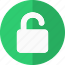 access, authorization, authorized, lock, logged in, login, open, open lock, optin, password, permissions, safe, secure, security, unlock, user, validate icon