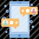 chat, communication, conversation, message, mobile, phone, shop