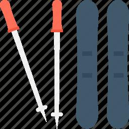 adventure sports, ski sticks, skiing, sports, winter sports icon