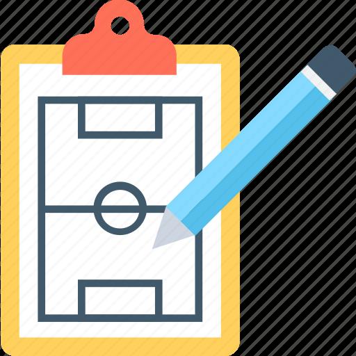 clipboard, game plan, soccer stadium, sports stadium, sports strategy icon