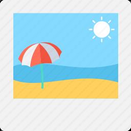 beach, image, photograph, picture, sun icon